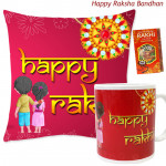 Happy Rakhi Mug, Happy Rakhi Cushion (Rakhi & Tika NOT Included)