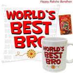 World's Best Bro Mug, World's Best Bro Cushion (Rakhi & Tika NOT Included)