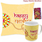 Happy Rakshabandhan Mug, Happy Rakshabandhan Cushion (Rakhi & Tika NOT Included)