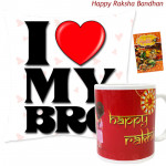 I Love My Bro Cushion, Happy Rakhi Mug (Rakhi & Tika NOT Included)