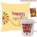 Happy Rakshabandhan Cushion, World's Best Bro Mug (Rakhi & Tika NOT Included)