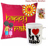 Happy Rakhi Cushion, I Love My Bro Mug (Rakhi & Tika NOT Included)