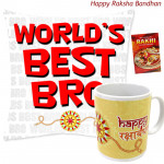 World's Best Bro Cushion, Happy Rakshabandhan Mug (Rakhi & Tika NOT Included)