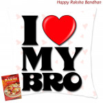 I Love My Bro Cushion (Rakhi & Tika NOT Included)