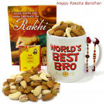 Mug N Dryfruit - Assorted Dryfruits, World's Best Bro Mug with 2 Rakhi and Roli-Chawal