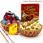 Kaju Badam Assortment - Cashewnuts and Almonds in Basket, Assorted Truffle Chocolates 100 gms in Basket with 2 Rakhi and Roli-Chawal