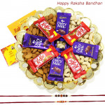 Crunchy Kit - Cashewnuts and Almonds, 4 Dairy Milk, 4 Kitkat with 2 Rakhi and Roli-Chawal