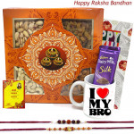 Silky Muggy - Assorted Dryfruits in Box, Dairy Milk Silk 60 gms, I Love My Bro Mug with 2 Rakhi and Roli-Chawal