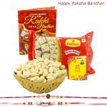 Kaju Papdi - Cashewnuts 100 gms Basket, Haldiram Soan Papdi with 2 Rakhi and Roli-Chawal