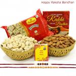 Papdi Basket - Haldiram Soan Papdi 250 gms, Almonds 100 gms Basket & Cashews 100 gms Basket with 2 Rakhi and Roli-Chawal