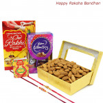 Celebration Box - Almonds Box, Mini Celebrations with 2 Rakhi and Roli-Chawal
