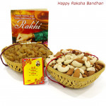 Thrice - Almonds & Cashews 100 gms Basket, Raisin 100 gms Basket with 2 Rakhi and Roli-Chawal