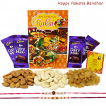 Healthy Treat - Almonds 100 gms, Cashews 100 gms, Raisins 100 gms, 4 Dairy Milk with 2 Rakhi and Roli-Chawal