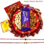 Decorative Nut - Almonds & Cashews, Dairy Milk Fruit & Nut, Decorative Thali with 2 Rakhi and Roli-Chawal