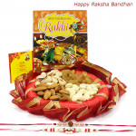 Dryfruit Feast - Assorted Dry Fruits, Decorative Thali with 2 Rakhi and Roli-Chawal