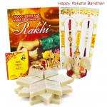 Ganesha Katli - Kaju Katli, Ganesh Idol with 2 Rakhi and Roli-Chawal