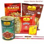 Haldiram Items Combo - Haldiram Soan Papdi, Gulab Jamun, Haldiram Namkeen with 2 Rakhi and Roli-Chawal