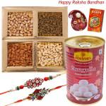 Haldiram Celebration - Haldiram Rasgulla 500 gms, Assorted Dryfruits 200 gms with 2 Rakhi and Roli-Chawal
