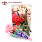 Decorative Combo - Paris Eiffel Tower, Handmade Chocolates Decorative Pack and Card