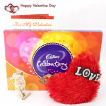Message N Celebration - Small Heart Pillow, Cadbury Celebration, Messages in a Bottle and Card