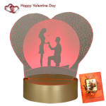 Luminated Heart 3D Desk Lamp & Valentine Greeting Card