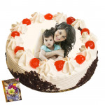1 Kg Round Shaped Black Forest Photo Cake & Card