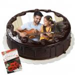1 Kg Round Shaped Chocolate Photo Cake & Card