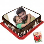 1 Kg Square Shaped Chocolate Photo Cake & Card