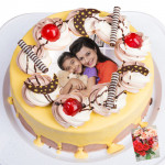 2 Kg Round Shaped Pineapple Photo Cake & Card