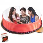 1 Kg Round Shaped Strawberry Photo Cake & Card