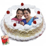 1 Kg Round Shaped White Forest Photo Cake & Card