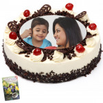 2 Kg Round Shaped Black Forest Photo Cake & Card