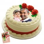 1 Kg Round Shaped Vanilla Photo Cake & Card