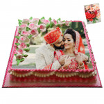 1 Kg Square Shaped Strawberry Photo Cake & Card