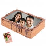 1 Kg Square Shaped Chocolate Truffle Photo Cake & Card