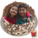 1 Kg Round Shaped Chocolate Truffle Photo Cake & Card