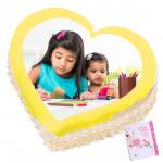 1 Kg Heart Shaped Pineapple Photo Cake & Card