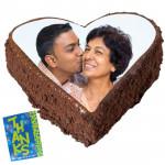 1 Kg Heart Shaped Chocolate Truffle Photo Cake & Card