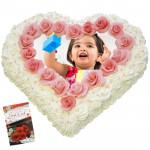 1 Kg Heart Shaped Vanilla Photo Cake & Card