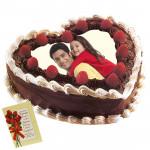 2 Kg Heart Shaped Black Forest Photo Cake & Card