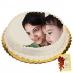 2 Kg Round Shaped Vanilla Photo Cake & Card