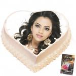 2 Kg Heart Shaped Vanilla Photo Cake & Card