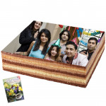 2 Kg Square Shaped Chocolate Photo Cake & Card