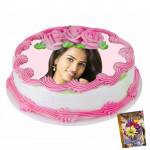 2 Kg Round Shaped Strawberry Photo Cake & Card