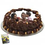 2 Kg Round Shaped Chocolate Truffle Photo Cake & Card