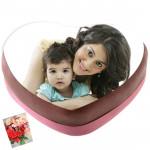 2 Kg Heart Shaped Chocolate Truffle Photo Cake & Card
