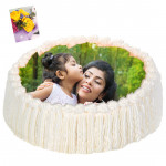 2 Kg Round Shaped White Forest Photo Cake & Card