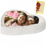 2 Kg Heart Shaped White Forest Photo Cake & Card