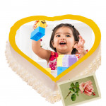 2 Kg Heart Shaped Pineapple Photo Cake & Card