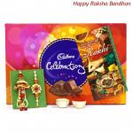 Bro & Bhabhi Delight - Cadbury Celebrations 121 gms with Bhaiya Bhabhi Rakhi Pair and Roli-Chawal